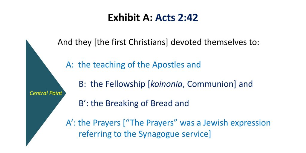 Acts 2.42, Exhibit A