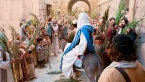 13, Jesus riding into Jerusalem and palm branches